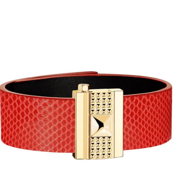 Bracelet femme en serpent d'eau rouge coquelicot