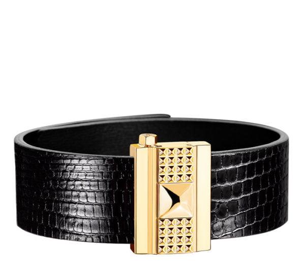 Bracelet femme en lézard noir, personnalisable.