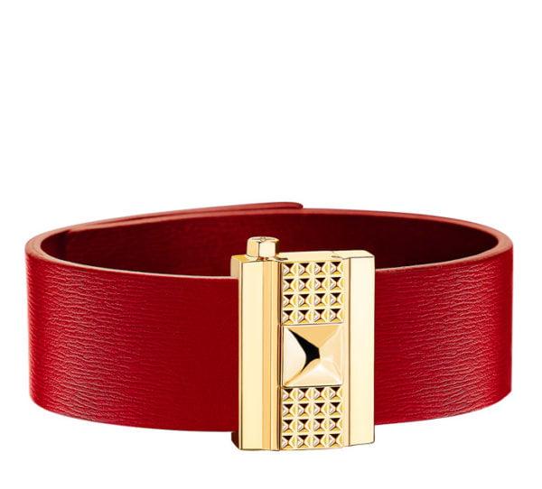 Bracelet femme en cuir rouge, personnalisable.