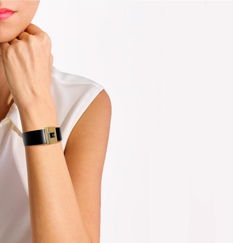 Bracelet femme en cuir noir, personnalisable.