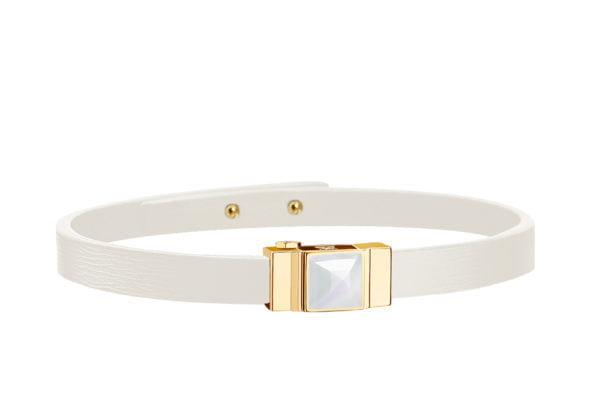 Bracelet cuir femme simple tour blanc