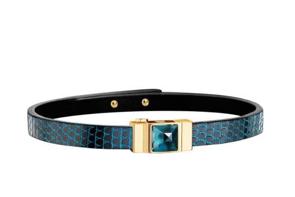 Bracelet cuir femme simple tour lézard bleu
