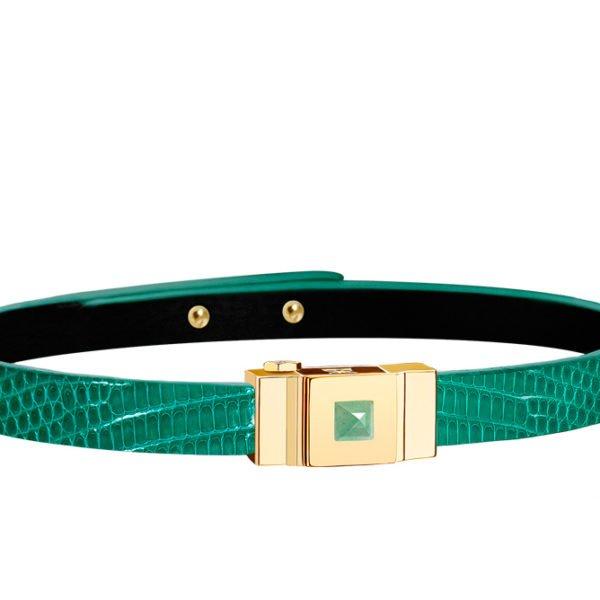 Bracelet cuir femme simple tour lézard vert