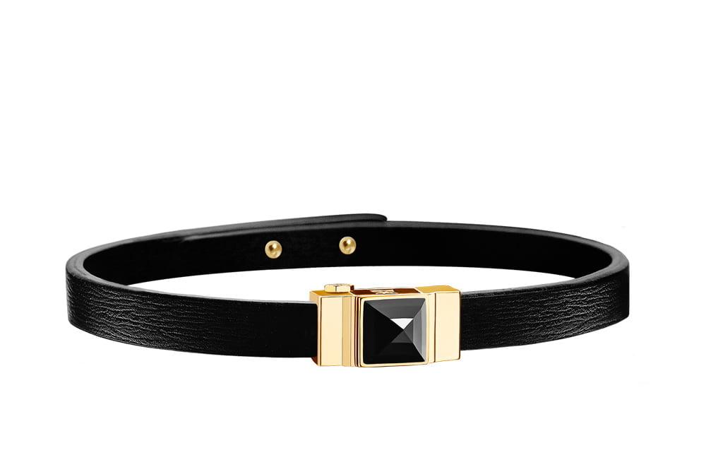 Bracelet cuir femme simple tour noir