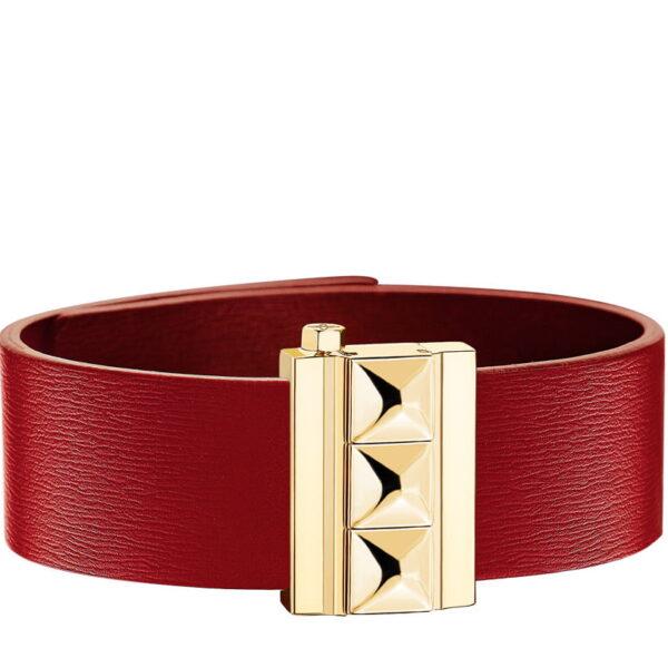 Bracelet femme en cuir de veau rouge, finition or