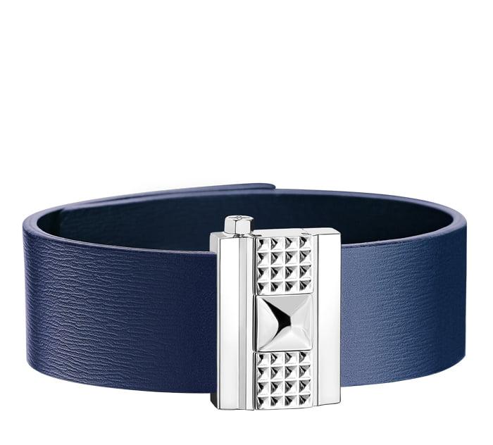 Bracelet femme en cuir bleu, personnalisable.