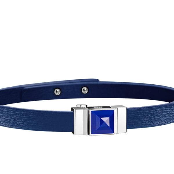 Bracelet cuir femme simple tour bleu