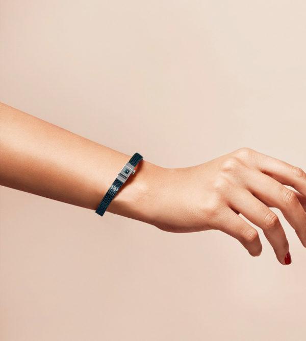 Bracelet personnalisable en lézard bleu nuit
