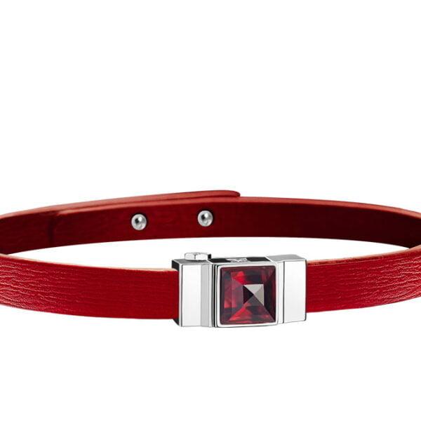 Bracelet cuir femme simple tour rouge