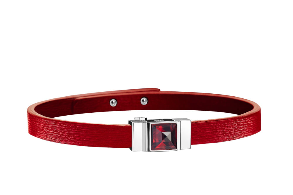 Bracelet cuir femme simple tour rouge