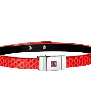 Bracelet cuir femme simple tour rouge coquelicot