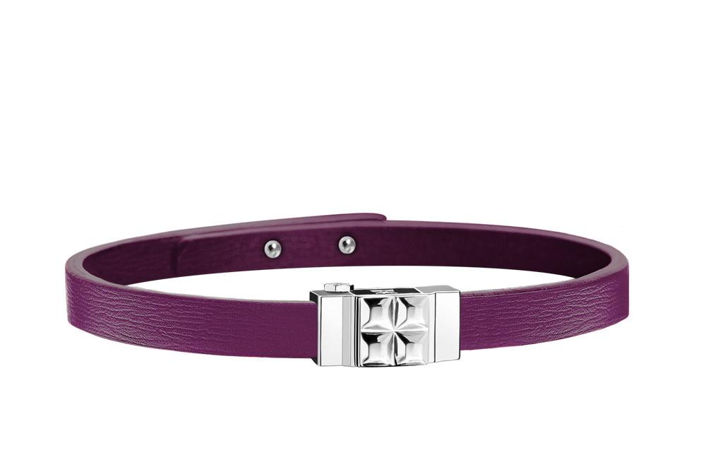 Bracelet cuir femme simple tour violet