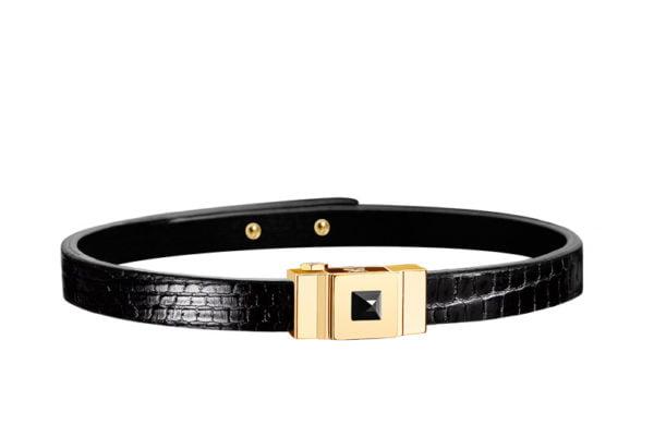Bracelet cuir femme simple tour en lézard noir