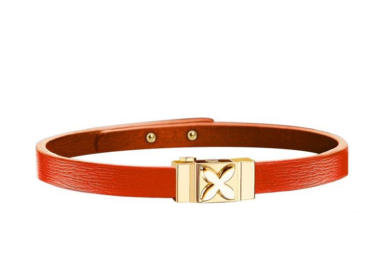 Bracelet cuir femme simple tour orange