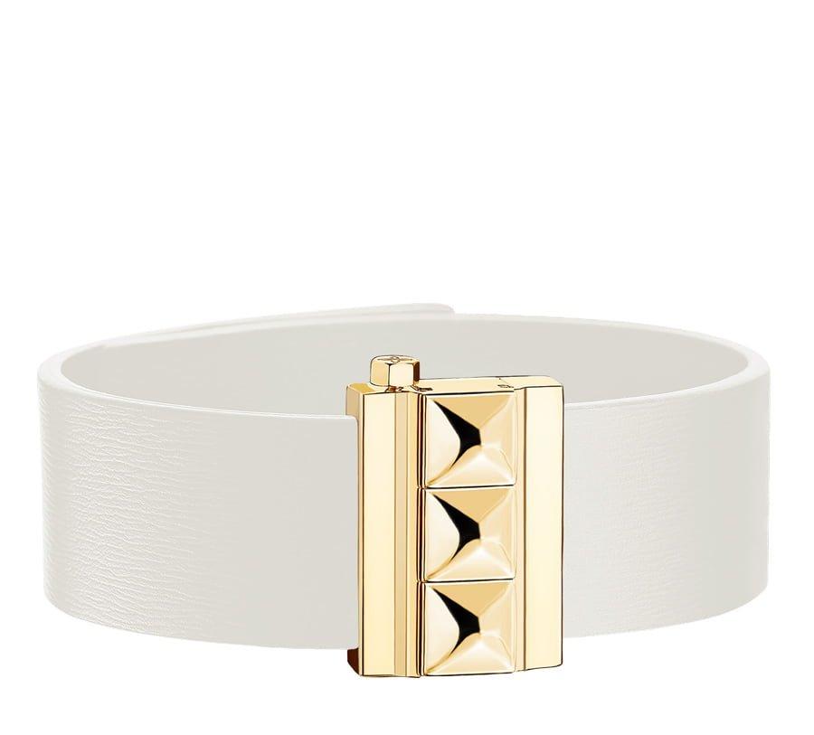 Bracelet femme en cuir de veau blanc, finition or