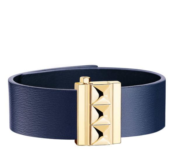 Bracelet femme en cuir de veau bleu, finition or