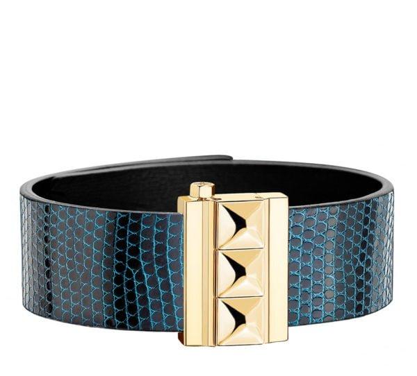 Bracelet femme en cuir de lézard bleu, finition or