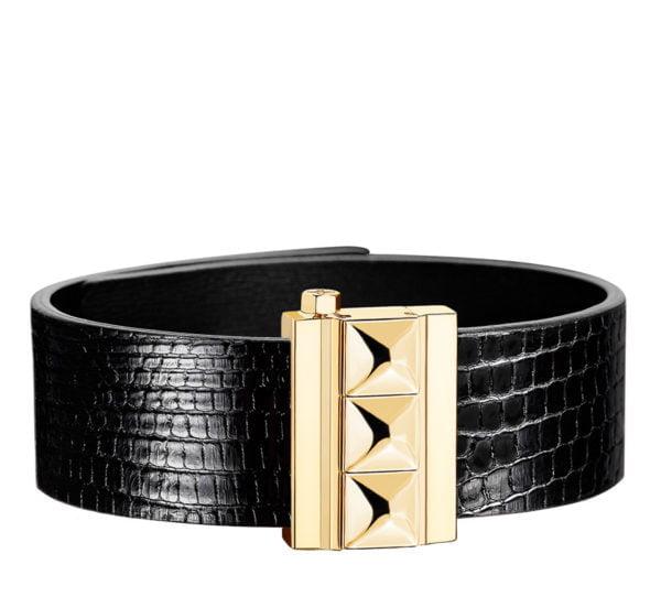 Bracelet femme en cuir de lézard noir, finition or