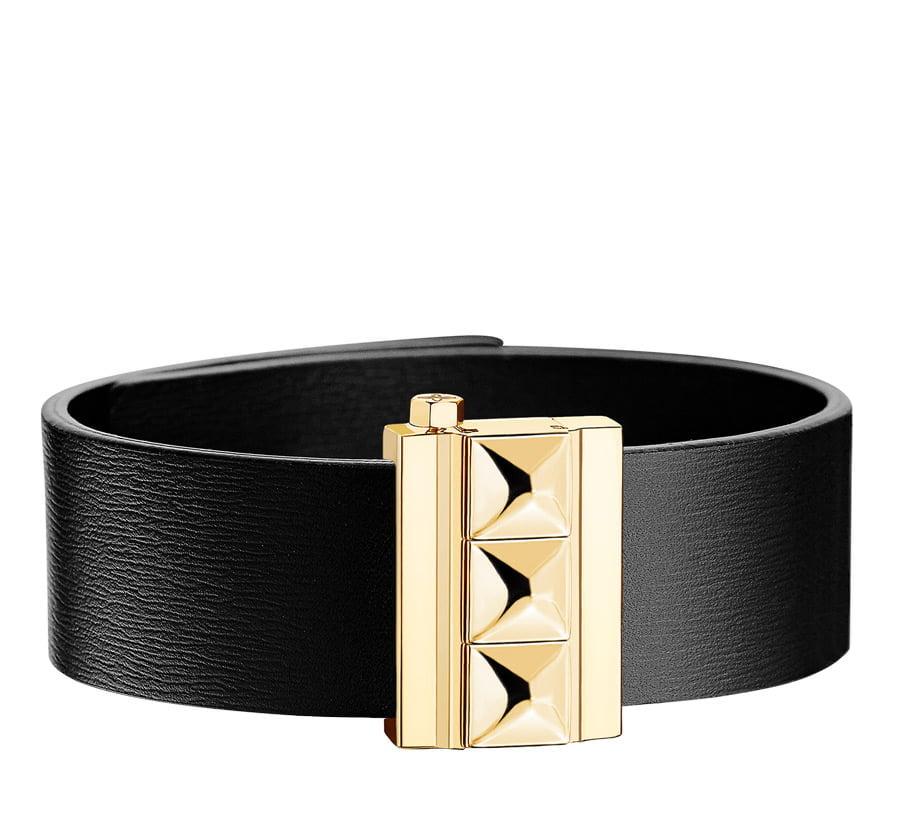 Bracelet femme en cuir de veau noir, finition or