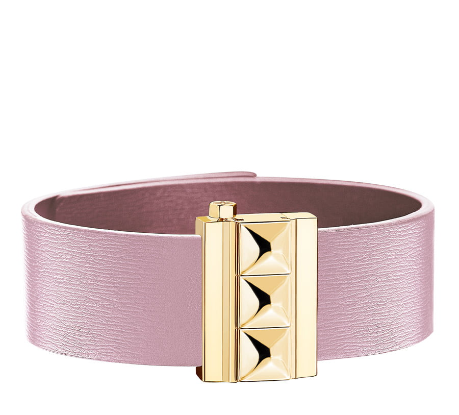 Bracelet femme en cuir de veau rose, finition or