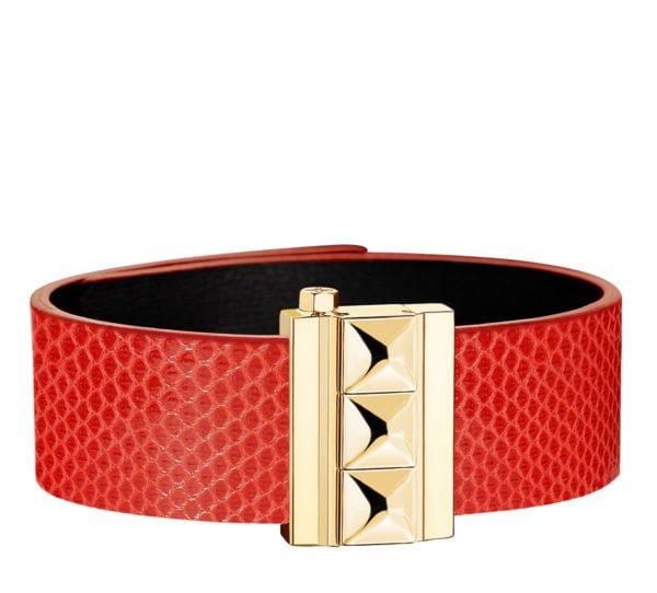 Bracelet femme en cuir de serpent d'eau coquelicot, finition or