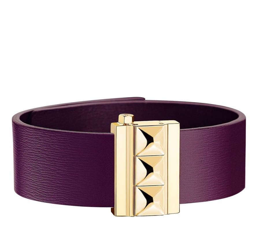 Bracelet femme en cuir de veau violet, finition or