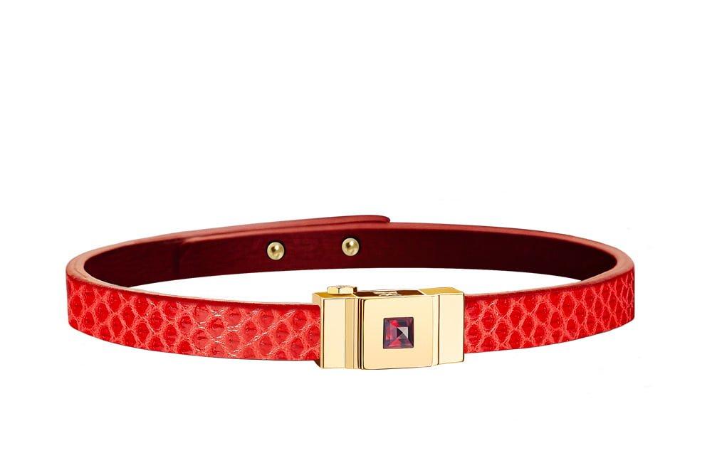 Bracelet cuir femme simple tour rouge coquelicot