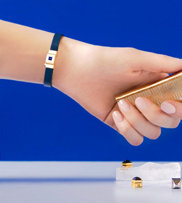 Bracelet femme simple tour en cuir bleu