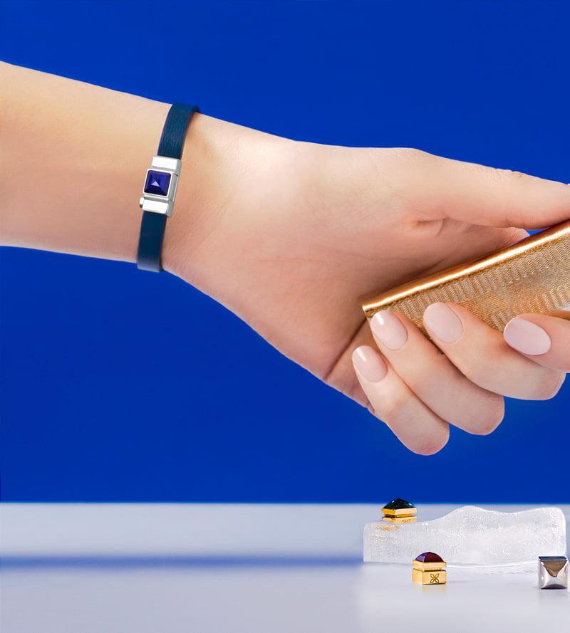 Bracelet simple tour cuir de veau Box Bleu