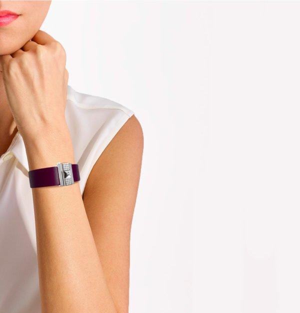 Bracelet femme en cuir violet, personnalisable.