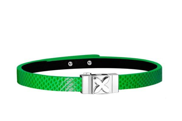 Bracelet femme simple tour en serpent d'eau vert électrique