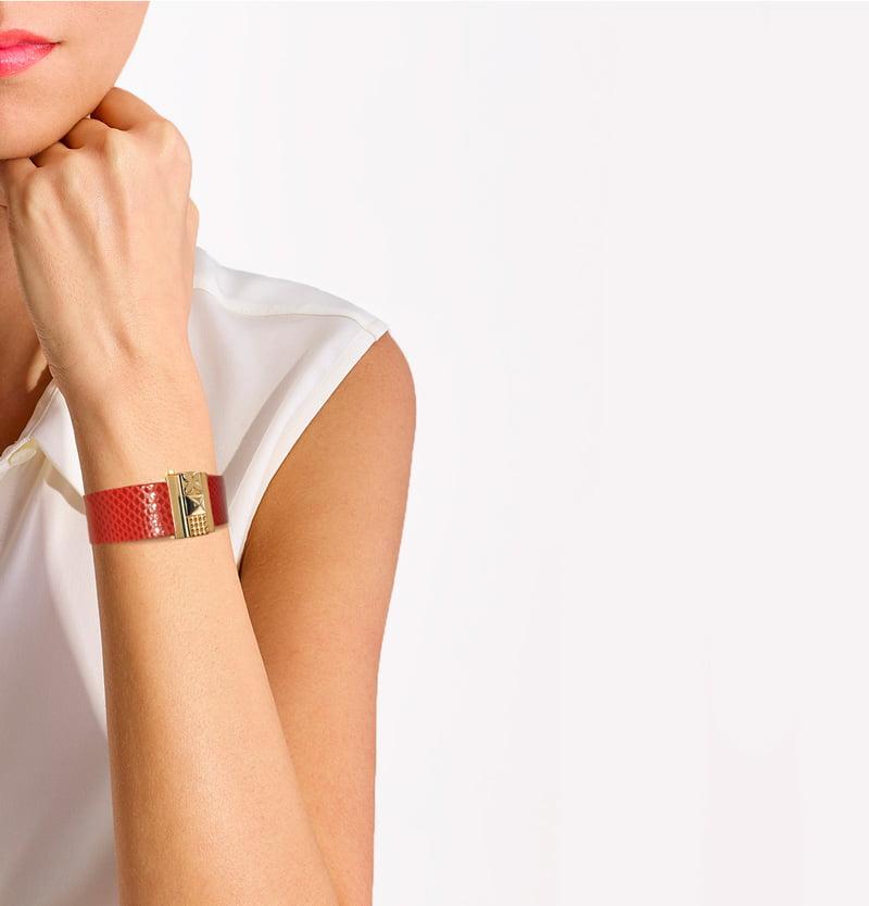 Bracelet femme en cuir rouge coquelicot, personnalisable.