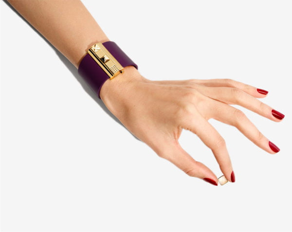 Manchette femme en cuir violet