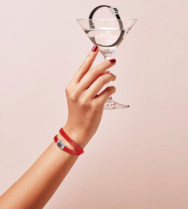 Bracelet double tour serpent d'eau coquelicot