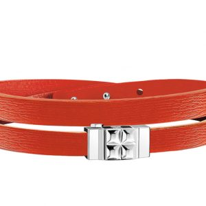 Bracelet cuir femme double tour orange