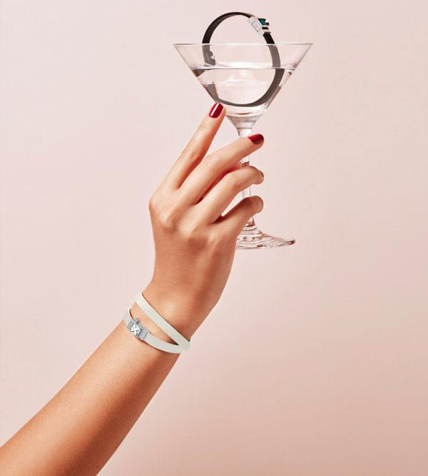 Bracelet cuir blanc double tour