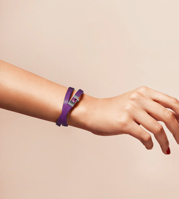 Bracelet double tour serpent d'eau violet