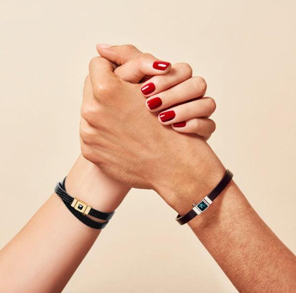 bracelet double tour cuir noir
