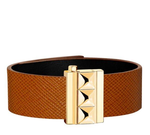 Bracelet femme en cuir de veau camel finition or