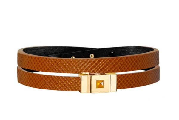 Bracelet femme double tour en cuir camel