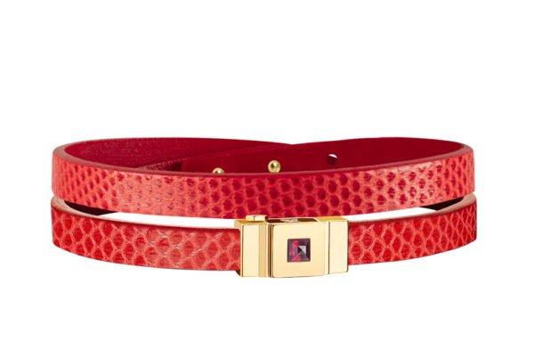 Bracelet cuir femme double tour rouge coquelicot