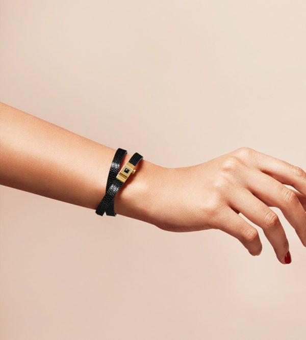Bracelet personnalisable en lézard noir, double tour.
