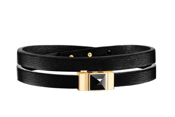 Bracelet cuir femme double tour noir