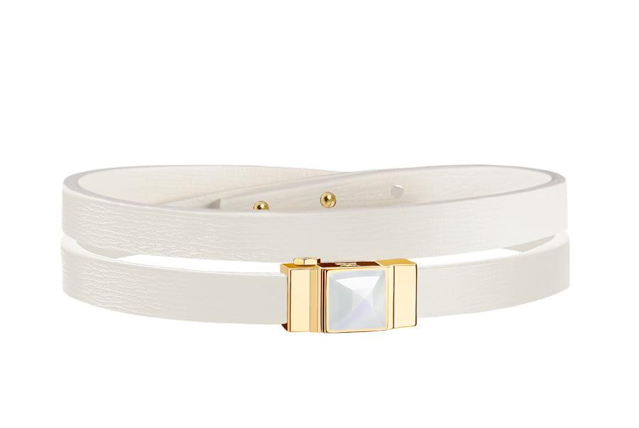 Bracelet cuir femme double tour blanc