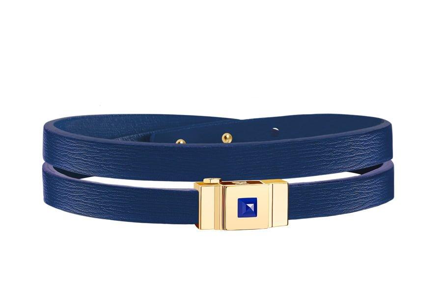 Bracelet femme cuir double tour bleu