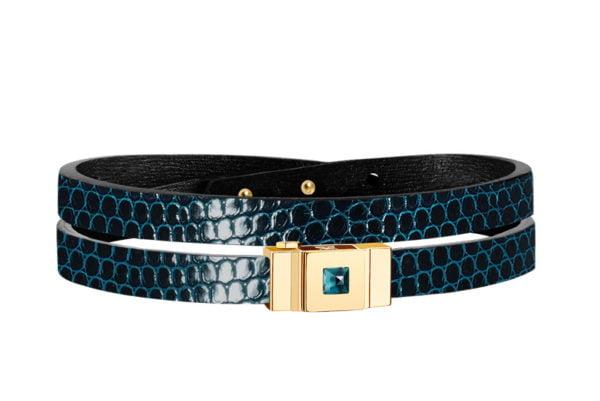 Bracelet cuir femme double tour lézard bleu