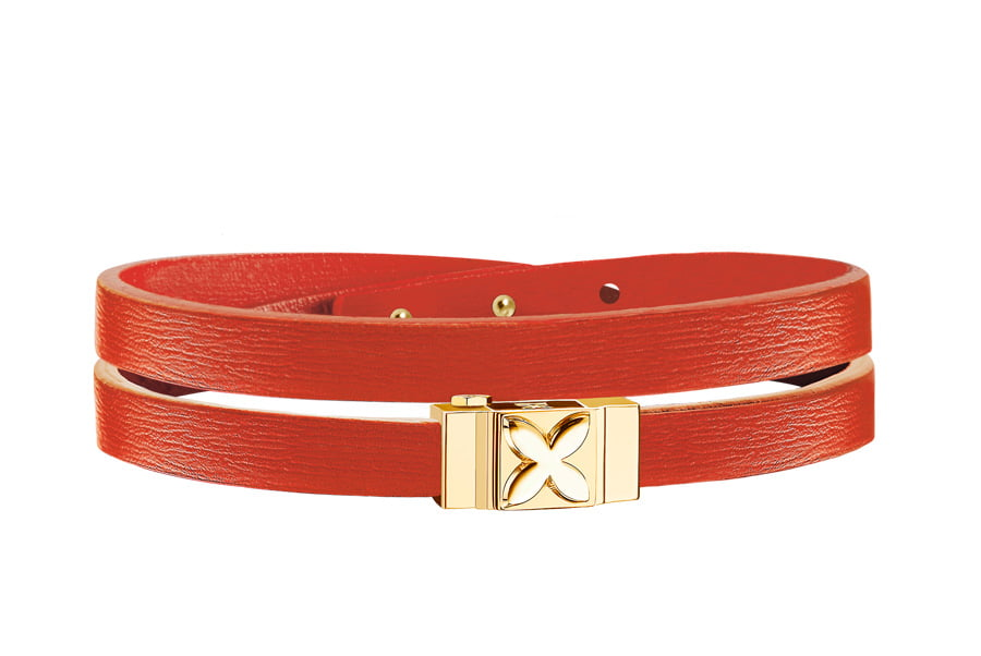 Bracelet cuir femme double tour orange