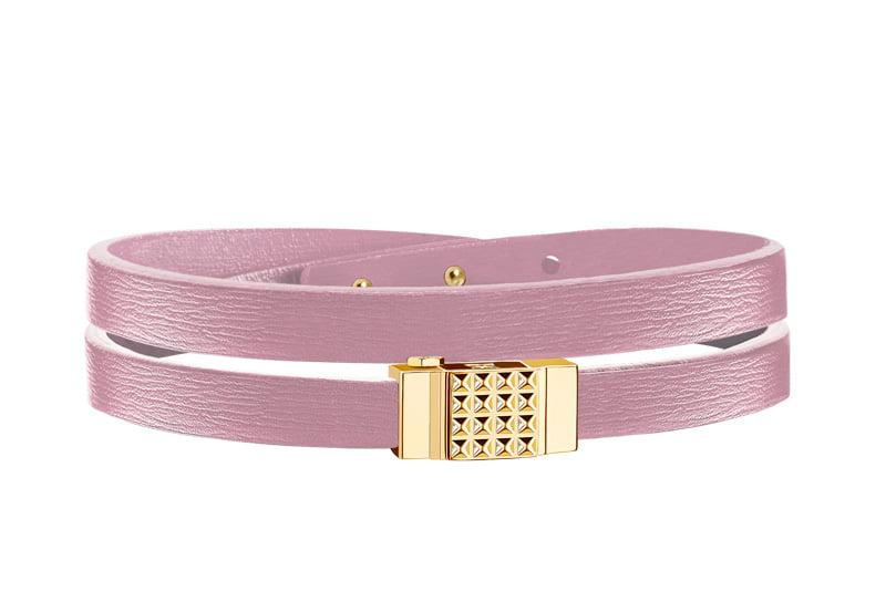 Bracelet cuir femme double tour rose