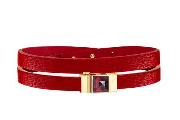 Bracelet cuir femme double tour rouge