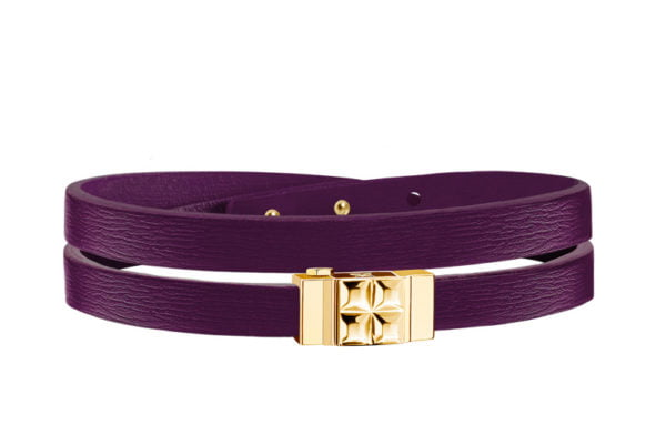 Bracelet femme double tour cuir violet